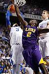 UK forward Nerlens Noel attempts a shot but it was blocked by LSU forward Johnny O'Bryant III during the second half of the men's basketball game vs. LSU at Rupp Arena, in Lexington, Ky., on Saturday, January 26, 2013. Photo by Genevieve Adams  | Staff.