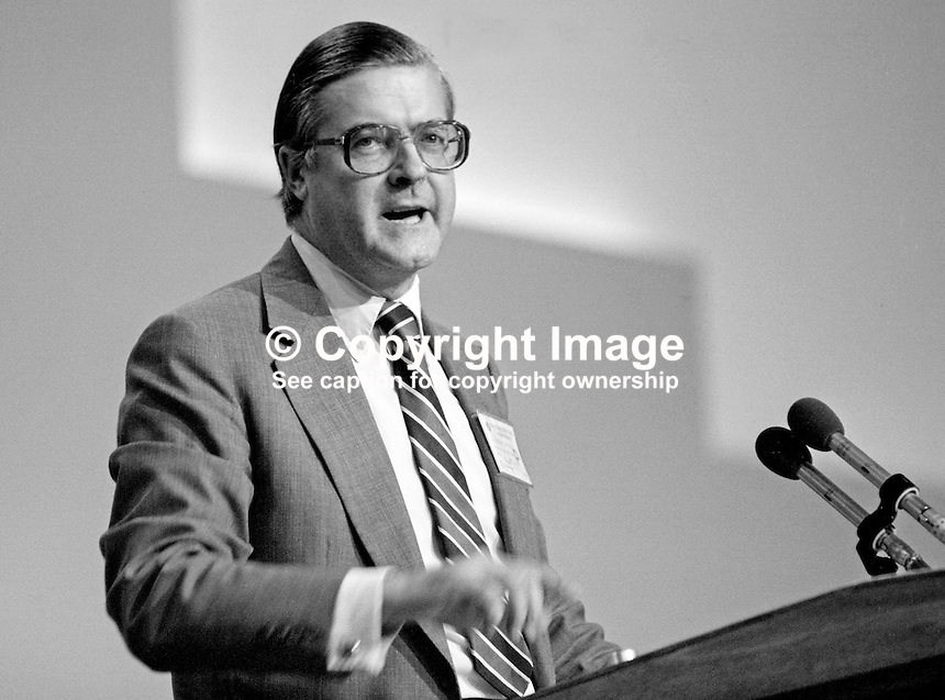Kenneth Baker, MP, Conservative Party, UK, information technology minister,  speaking at annual conference, Brighton, 1984. This was the year when the Provisional IRA bombed the Grand Hotel. 19840146KB4.<br />