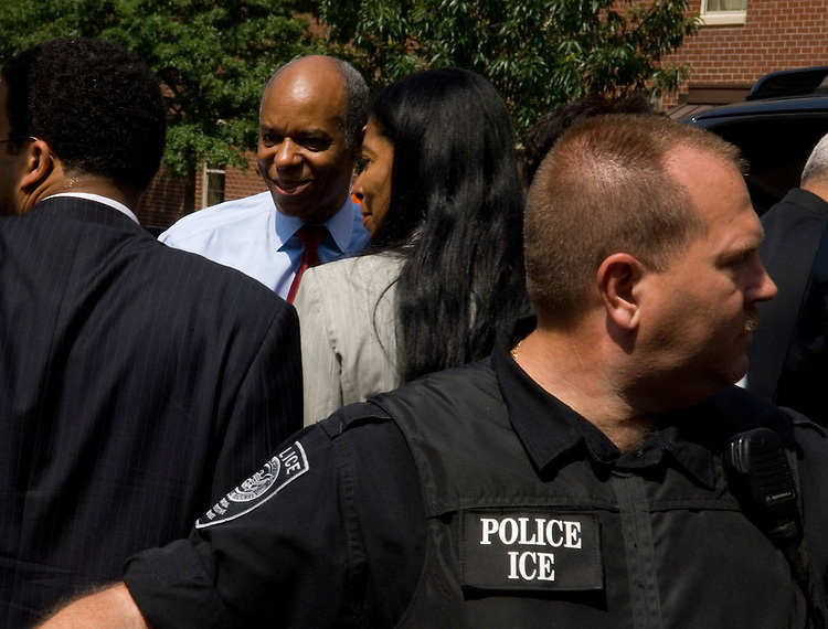 A Federal Protective Service officer holds back the media as Indicted Rep. William Jefferson, D-La., leaves the U.S. District Court for the Eastern District of Virginia in Alexandria, Va., on Friday, June 8, 2007. FPS is a division of U.S. Immigration and Customs Enforcement, also known as ICE.