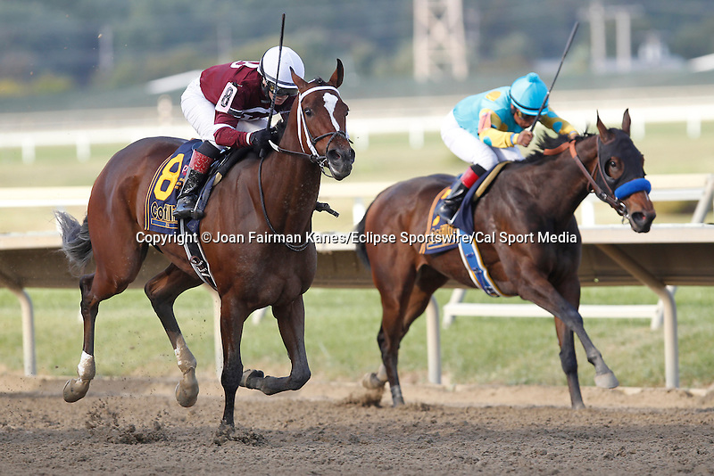 September 20, 2014:  CORRECTED CAPTION: Untapable, Rosie Napravnik up, wins the Grade I Cotillion Stakes at Parx Racing in Bensalem, PA. Trainer is Steve Asmussen. Owner is Winchell Thoroughbreds. Jojo Warrior (inside) was third. Joan Fairman Kanes/ESW/CSM