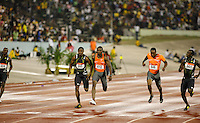 Darvis Patton(646) ran 10.02sec., Daniel Bailey(501) 10.02, Yohan Blake(555) 10.07, Richard Thompson(612) 10.07 for the 100m at the Jamaica International Invitational Meet at the National Stadium, Kingston, Jamaica on Saturday, May 2nd. 2009. Photo by Errol Anderson, The Sporting Image.net