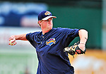 21 August 2010: Brooklyn Cyclones infielder Joe Bonfe warms up prior to a game against the Vermont Lake Monsters at Centennial Field in Burlington, Vermont. The Cyclones defeated the Lake Monsters 8-7 in a 12-inning game that had to be resumed in Brooklyn on August 31 due to late inning rain. Mandatory Credit: Ed Wolfstein Photo