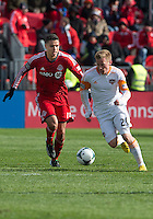 20 April 2013: Toronto FC midfielder Luis Silva #11 and Houston Dynamo midfielder Andrew Driver #20 in action during an MLS game between the Houston Dynamo and Toronto FC at BMO Field in Toronto, Ontario Canada..The game ended in a 1-1 draw...