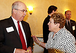 TORRINGTON CT. 20 April 2017-042017SV04-Joe Brennan, president and chief executive officer of Connecticut Business &amp; Industry Association talks with Joanne Ryan, JoAnn Ryan, President &amp; CEO Northwest CT Chamber of Commerce during the Northwest Connecticut Chamber of Commerce annual meeting in Torrington Thursday. Brennan gave the keynote address. <br /> Steven Valenti Republican-American