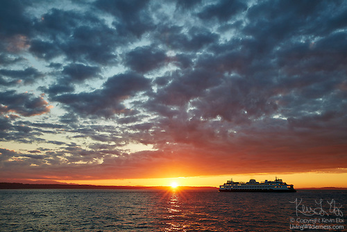 Washington State Ferry Crossing Puget Sound at Sunset