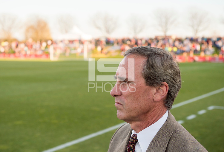 Boyds, MD - April 16, 2016: Washington Spirit head coach Jim Gabarra. The Washington Spirit defeated the Boston Breakers 1-0 during their National Women's Soccer League (NWSL) match at the Maryland SoccerPlex.