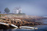 A pea-soup fog veils Prospect Harbor Light, on the Schoodic National Scenic Byway, in Gouldsboro, Downeast ME