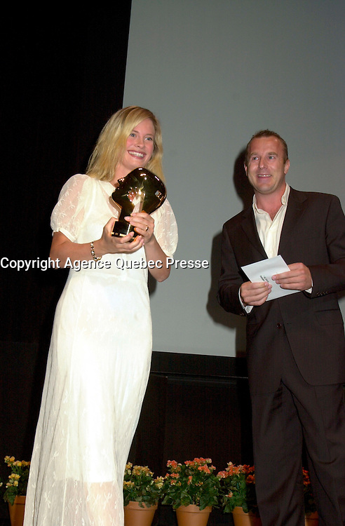 Sept 2, 2002, Montreal, Quebec, Canada<br /> <br /> Maria Bonnevie, receive the <br /> Best Actress award for the movie I AM DINA,<br />  by Ole Bornedal ,at the closing ceremony of the 2002 Montreal World Films Festival, Sept 2 2002, in  Montreal, Quebec, Canada<br /> <br /> <br /> Mandatory Credit: Photo by Pierre Roussel- Images Distribution. (&copy;) Copyright 2002 by Pierre Roussel <br /> <br /> NOTE : <br />  Nikon D-1 jpeg opened with Qimage icc profile, saved in Adobe 1998 RGB<br /> .Uncompressed  Uncropped  Original  size  file availble on request.
