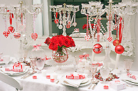 Details of the dining table laid for a Christmas party