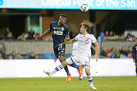 San Jose, CA - Saturday, March 04, 2017: Fatai Alashe, Marco Donadel prior to a Major League Soccer (MLS) match between the San Jose Earthquakes and the Montreal Impact at Avaya Stadium.