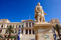 Statue of  Andreas Miaoulis, celebrated admiral of the Greek War of Independence, and the Neo Classic City Hall of Ermoupolis, Miaoulis Square, Syros [ ????? ] , Greek Cyclades Islands