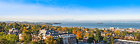 Panorama of the Waterman Building and Lake Champlain, Fall UVM Campus