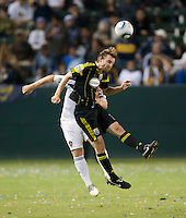 Columbus Crew midfielder Eddie Gaven heads ball during the second half of the game between LA Galaxy and the Columbus Crew at the Home Depot Center in Carson, CA, on September 11, 2010. LA Galaxy 3, Columbus Crew 1.