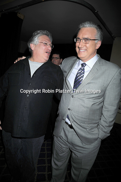 """actor Harvey Fierstein and Keith Olbermann..posing for photographers at """"Defying Inequality"""" The Broadway Concert on February 23, 2009 at The Gershwin Theatre in New York City. The concert was a benefit for Equal Rights for gay people to be able to marry. ....Robin Platzer, Twin Images"""