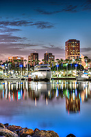 Long Beach, CA, City, Cityscape, Skyline, Architectural, Building, Southern California, USA, Cityscape Skyline, Rainbow Harbor, Night, Lit, Dusk
