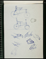 BNPS.co.uk (01202 558833)<br /> Pic: TomKaren/BNPS<br /> <br /> ***Must Use Full Byline***<br /> <br /> The original designs. <br /> <br /> The original drawing designs for the Raleigh Chopper have come to light 45 years after the first ever iconic bicycle was made.<br /> <br /> The idea for the much-loved 1970s bike began as a quick doodle by inventor Tom Karen.<br /> <br /> The first scribbled sketches were just basic outlines but they clearly show its most famous features - large U-shaped handlebars and rear wheel and long leather seats.<br /> <br /> The rough sketches evolved into formal designs and Raleigh produced the first Mark I Choppers in 1969.<br /> <br /> They soon became the must-have children's item across Britain and more than 1.5 million of them were made until production ceased in 1979.<br /> <br /> The two pages of original drawings were retained by Mr Karen, now aged 87, and he took<br /> them with him when in 1999 he retired from Ogle Design, the consultancy firm used by Raleigh.<br /> <br /> Since then his sketch books have been left gathering dust in the garage of the grandfather's home in Cambridge. He has now dug them out after rediscovering them.<br /> <br /> Mr Karen said: &quot;The sketch books were just for me to do some rough doodles for me to pass on my ideas to the designers to work on and show to the client.