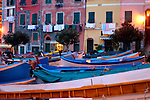 Europe, Italy, Portofino. Boats of Vernazza in the Cinque Terre.