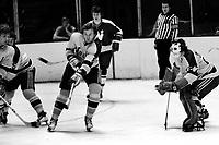 California Golden Seals , Bob Stewart, Walt McKechnie and goalie Gilles Meloche against the Minnesota North Stars.... (1975/photo by<br />Ron Riesterer)