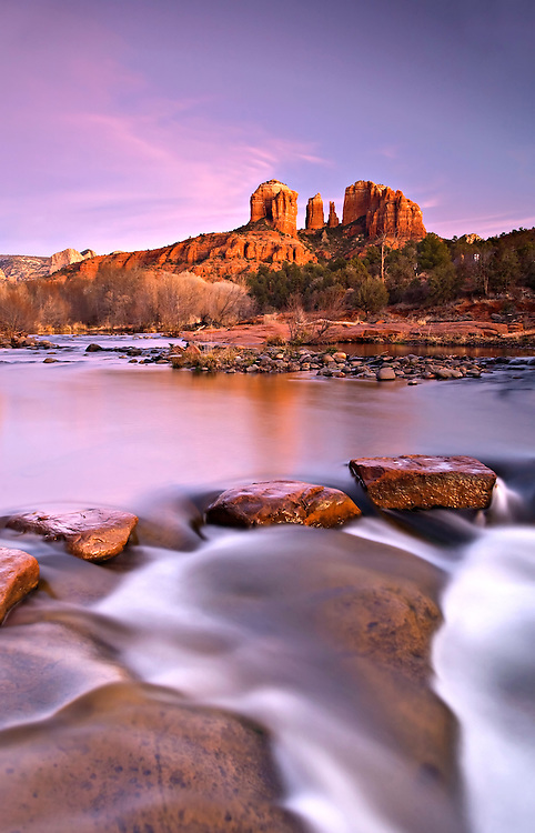 Cathedral Rock and Red Rock Crossing along Oak Creek in Sedona, Arizona