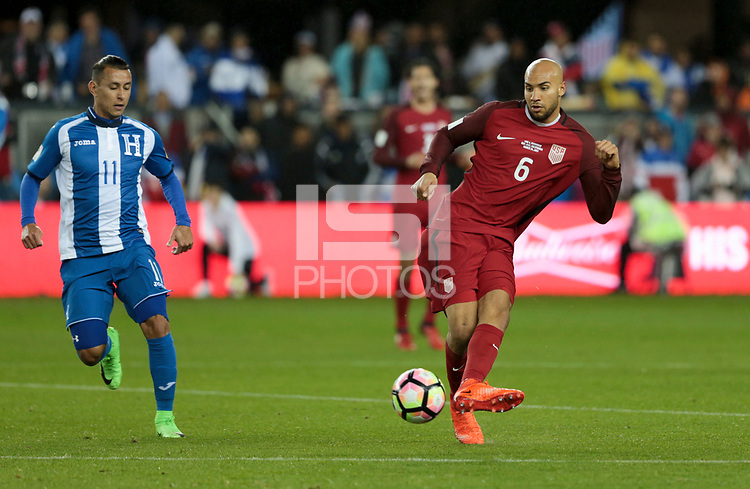 San Jose, CA - March 24, 2017: The U.S. Men's National team go up 6-0 over Honduras during their 2018 FIFA World Cup Qualifying Hexagonal match at Avaya Stadium.