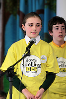 NO FEE PICTURES.8/3/12 Caitlin Kelly, St Mary's NS, Sandyford , taking part in the Dublin County final, part of the overall Eason 2012 Spelling Bee, held at St Olaf's NS, Dundrum. .For further details visit www.easons.com/spellingbee and stay tuned to RTE 2fm. Picture:Arthur Carron/Collins