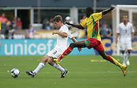 Logan Pause (8) controls the ball against Cassim Langainge (right). USA defeated Grenada 4-0 during the First Round of the 2009 CONCACAF Gold Cup at Qwest Field in Seattle, Washington on July 4, 2009.