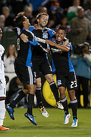 Chris Wondowloski (left) and Anthony Ampaipitakwong (right) celebrate with Bobby Convey (center) after his goal. The San Jose Earthquakes defeated the New England Revolution 2-1 at Buck Shaw Stadium in Santa Clara, California on May 21st, 2011.