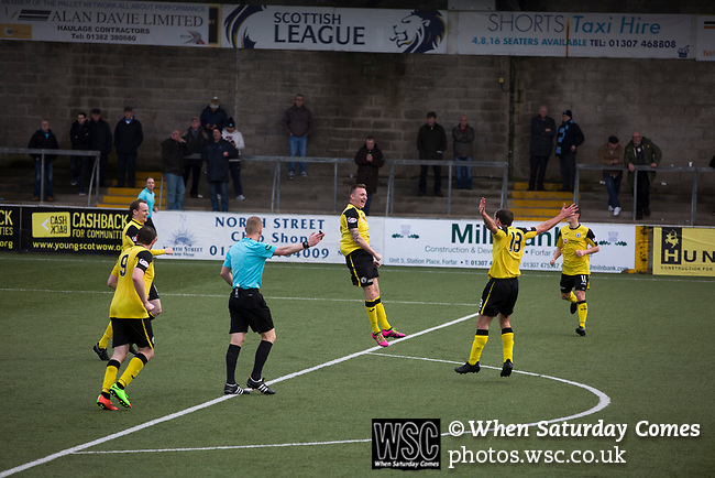 Forfar Athletic 1 Edinburgh City 2, 02/02/2017. Station Park, SPFL League 2. Derek Riordan leaps in celebration after his 76th minute equaliser for the visitors at Station Park, Forfar during the SPFL League 2 fixture between Forfar Athletic and Edinburgh City (yellow). It was the club's sixth and final meeting of City's inaugural season since promotion from the Lowland League the previous season. City came from behind to win this match 2-1, watched by a crowd of 446. Photo by Colin McPherson.