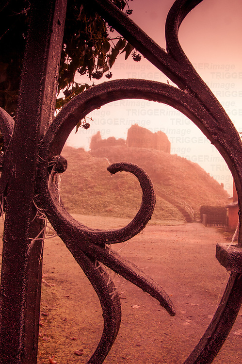 Decorative iron gates at Eye castle in Suffolk England