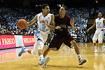 14 November 2014: North Carolina's Marcus Paige (5) and NC Central's Nimrod Hilliard (11). The University of North Carolina Tar Heels played the North Carolina Central University Eagles in an NCAA Division I Men's basketball game at the Dean E. Smith Center in Chapel Hill, North Carolina. UNC won the game 76-60.