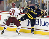 Jimmy Hayes (BC - 10), Brandon Brodhag (Merrimack - 12) - The Boston College Eagles defeated the visiting Merrimack College Warriors 3-2 on Friday, October 29, 2010, at Conte Forum in Chestnut Hill, Massachusetts.