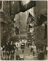 WWI: Germany Surrenders by W.L. Drummond, 1918 (LOC) : celebrations on Wall Street with confetti, American flags, and crowds of people.