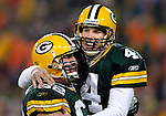(2004)-Green Bay Packer quarterback Brett Favre celebrating a 16-yard touchdown pass to Donald Driver. This game was Favre's 200th regular season start.