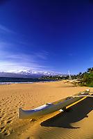 Outrigger canoe on Wailea Beach on Maui's South Side.