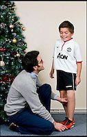 BNPS.co.uk (01202 558833)<br /> Pic: RachelAdams/BNPS<br /> <br /> Prosthetist Matthew Hughes fits Leon's new leg. <br /> <br /> Perfect gift for Xmas...<br /> <br /> A Footy nut can join in with the rest of his team for the first time this Xmas after receiving a revolutionary new prosthetic leg that  looks and feels just like an ordinary limb.<br /> <br /> Leon Meal-Moss, aged 10, had to have his lower left leg amputated when he was just eight-months-old after being born with severe deformities.<br /> <br /> The plucky youngster learnt to walk using rigid NHS false limbs which he found painful and was forced to swing his leg sideways.<br /> <br /> The &pound;4250 limb was fitted at Dorset Orthopaedic, one of the worlds leading clinics for amputees.