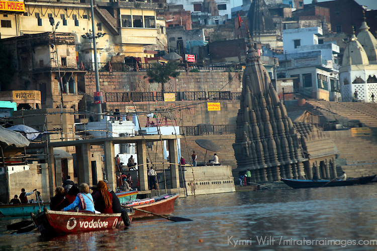Asia, India, Varanasi. The leaning submerged Shiva temple at  Scindia Ghat, Varanasi.