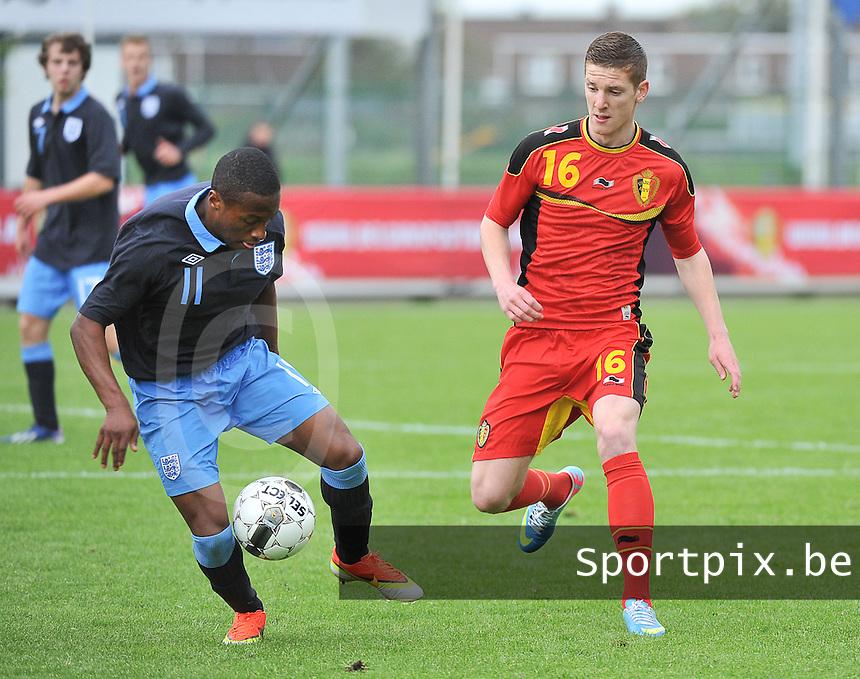 Belgium U19 - England U19 : Callum Harriott (11) and Gianni De Neve (16).foto DAVID CATRY / Nikonpro.be