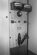 Osening, New York. Sing Sing Prison, November 1970. The electric chair, the main electric switch was used during the execution. The first part of the prison opened in 1828.