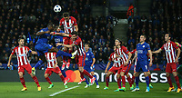 Atletico Madrid's Jose Gimenez clears from Leicester City's Wes Morgan<br /> <br /> Photographer Stephen White/CameraSport<br /> <br /> UEFA Champions League Quarter Final Second Leg - Leicester City v Atletico Madrid - Tuesday 18th April 2017 - King Power Stadium - Leicester <br />  <br /> World Copyright &copy; 2017 CameraSport. All rights reserved. 43 Linden Ave. Countesthorpe. Leicester. England. LE8 5PG - Tel: +44 (0) 116 277 4147 - admin@camerasport.com - www.camerasport.com