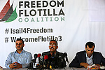 Anwar Atallah, a member of the European campaign against the Israeli blockade on Gaza Strip, speaks during a press conference in Gaza city on June 30, 2015. Israeli navy boarded and seized a vessel taking part in a flotilla set to reach the Gaza Strip early Monday, the Israel Defense Forces (IDF) announced in a statement. Photo by Mohammed Asad