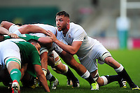 George Nott of England U20 in action at a scrum. World Rugby U20 Championship Final between England U20 and Ireland U20 on June 25, 2016 at the AJ Bell Stadium in Manchester, England. Photo by: Patrick Khachfe / Onside Images
