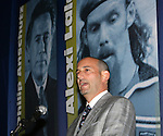 27 August 2006: Major League Soccer commissioner Don Garber introduces Philip Anschutz (not pictured) who was honored with the Hall of Fame's National Soccer Medal of Honor after dinner. The President's Reception and Dinner were held at the National Soccer Hall of Fame in Oneonta, New York the evening before the 2006 Induction Ceremony.