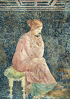Detail of the Roman fresco wall painting of a women thinking from the Villa Arianna (Adriana), Stabiae (Stabia) near Pompeii , inv 9097, Naples National Archaeological Museum ,