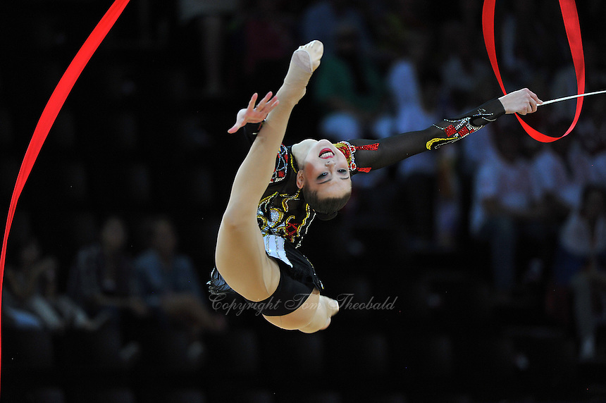 September 23, 2011; Montpellier, France;  ALINA MAKSYMENKO of Ukraine performs with ribbon in the all around final at 2011 World Championships.
