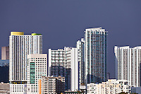New condominiums and other high-rise buildings crowd the Miami bayfront skyline.
