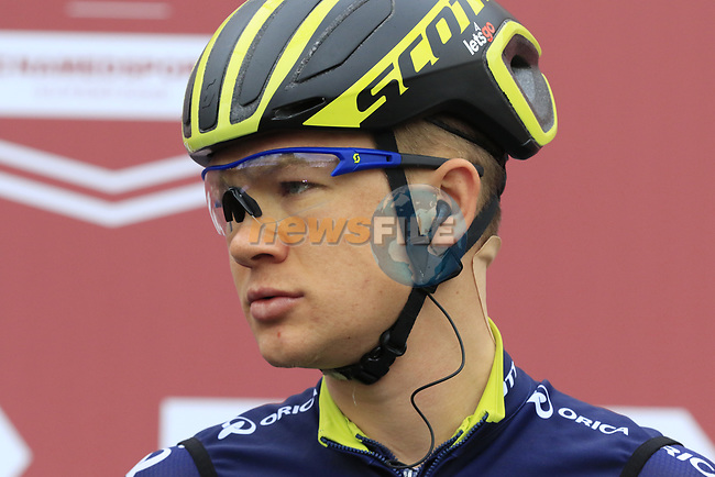 Chris Juul Jensen (IRL/DEN) Orica-Scott at sign on before the start of the 2017 Strade Bianche running 175km from Siena to Siena, Tuscany, Italy 4th March 2017.<br /> Picture: Eoin Clarke | Newsfile<br /> <br /> <br /> All photos usage must carry mandatory copyright credit (&copy; Newsfile | Eoin Clarke)