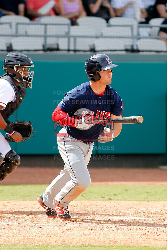 Salem Red Sox second baseman Chad De La Guerra (18) at bat during a game against the Down East Wood Ducks  at Grainger Stadium on April 16, 2017 in Kinston, North Carolina. Salem defeated Down East 9-2. (Robert Gurganus/Four Seam Images)