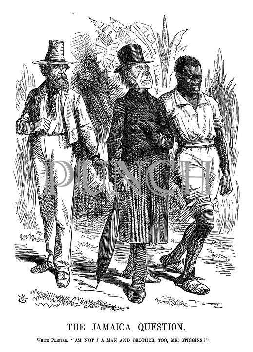 """The Jamaica Question. White Planter. """"Am I Not a Man and Brother Too, Mr Stiggins?"""""""