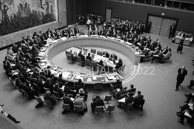 New York, New York.USA.March 7, 2003..The United Nations Security Council meets on the crisis in Iraq.
