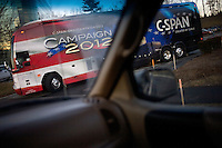 The C-Span Campaign 2012 bus drives through Nashua, New Hampshire, on Jan. 6, 2012.